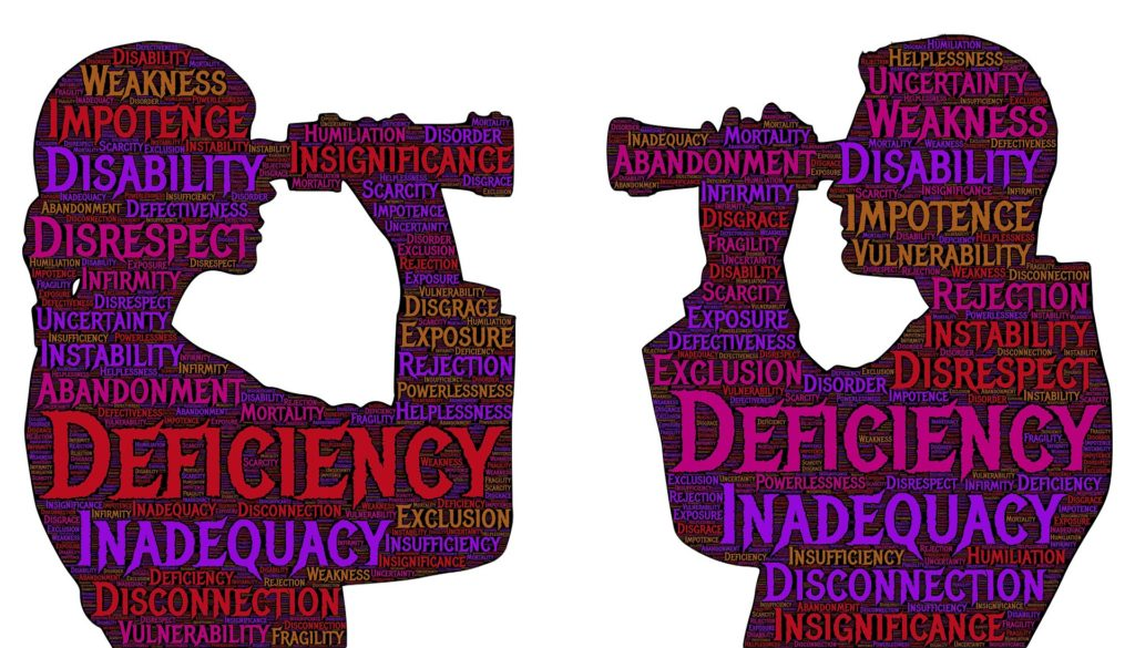 two people in silhouette looking at one another with binoculars with word clouds on them